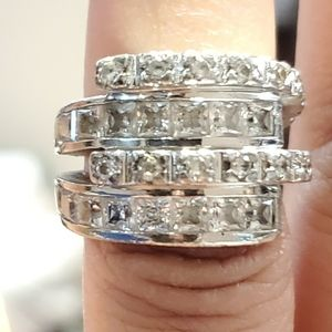Sterling silver 925 4-tier crystal ring Size 7